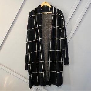 Leith window pane cozy long cardigan oversized